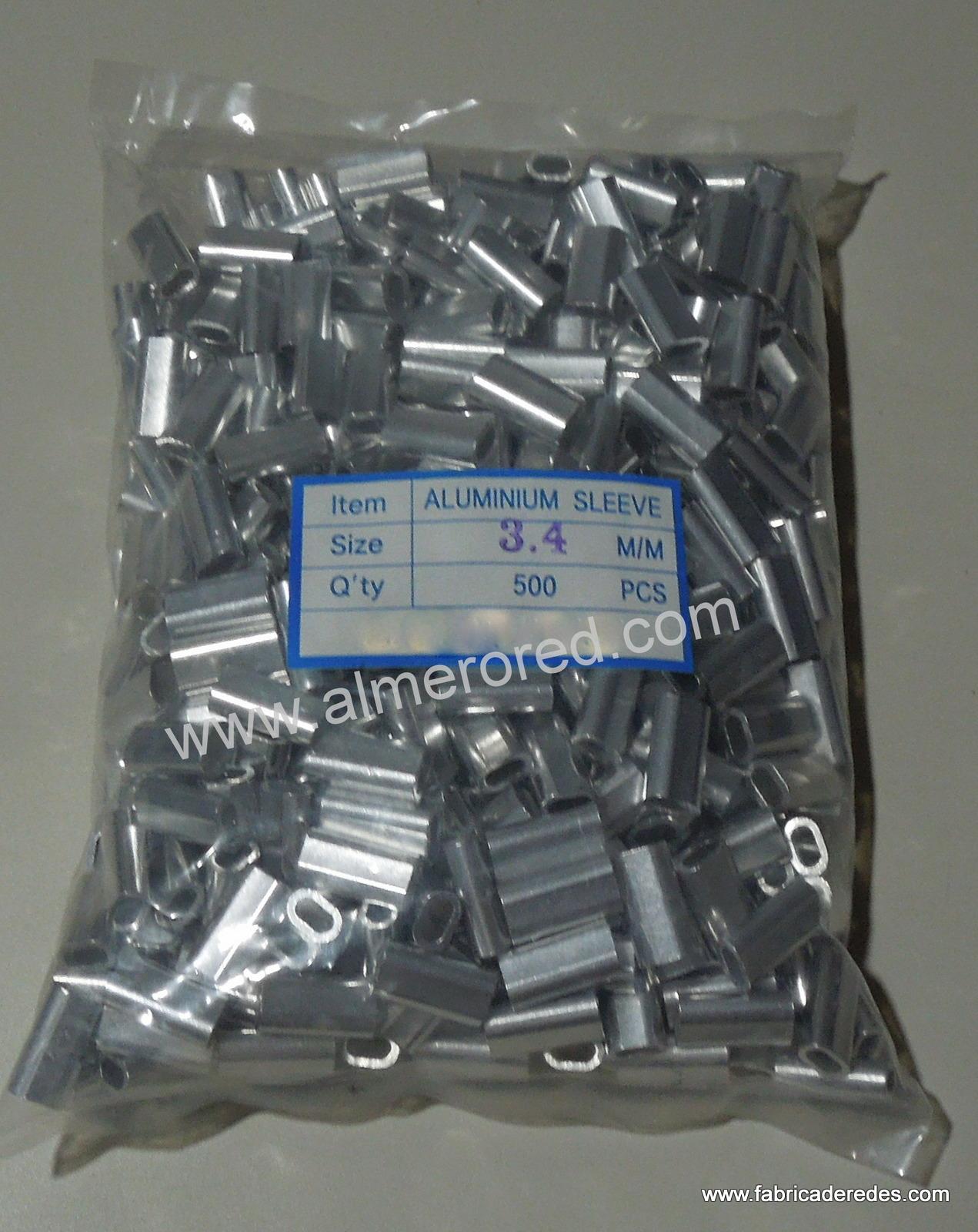 Bolsa de 500 unidades de grapa doble 3.4mm de aluminio